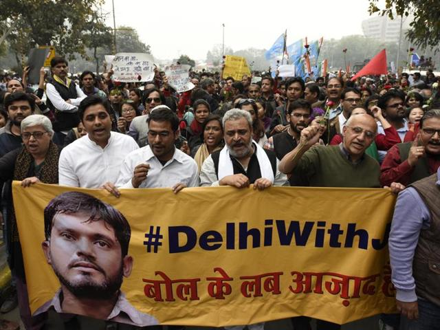 JNU students, professors and CPI party members protest for the release of JNUSU president Kanhaiya Kumar in New Delhi on Thursday.