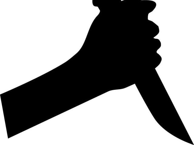 The 50-year-old woman picked up a knife and threatened the police team with it, but later got agitated and slashed the policeman's hand.