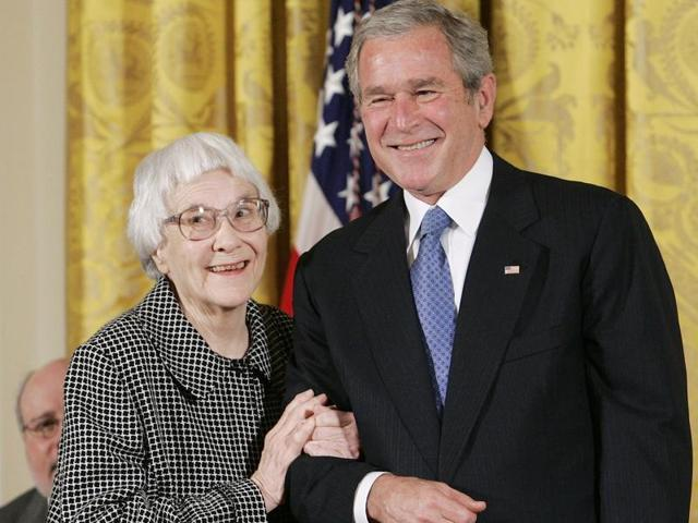 "US President George W. Bush awarding the Presidential Medal of Freedom to American novelist Harper Lee (L), Lee, who wrote one of America's most enduring literary classics ""To Kill a Mockingbird"", has died at the age of 89."