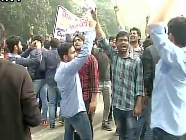The agitating Delhi University students sat on the roads near the campus demanding reservation in government jobs for Jat community.