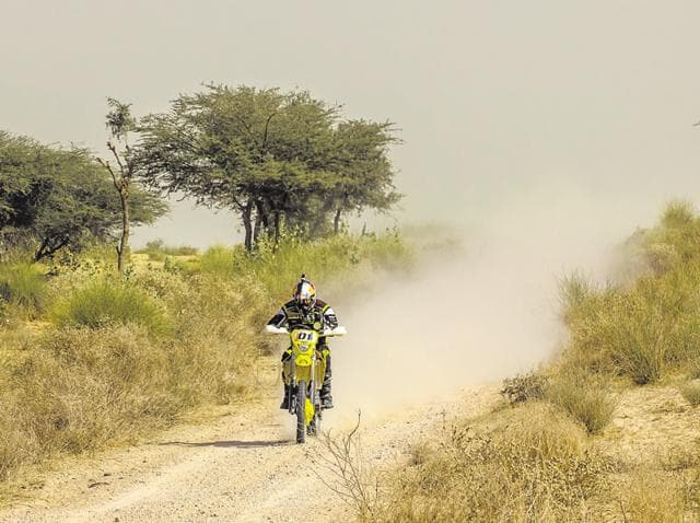 India's premier off-road biker and Dakar finisher CS Santosh beat the rest of the field by almost an hour to claim the inaugural India Baja.