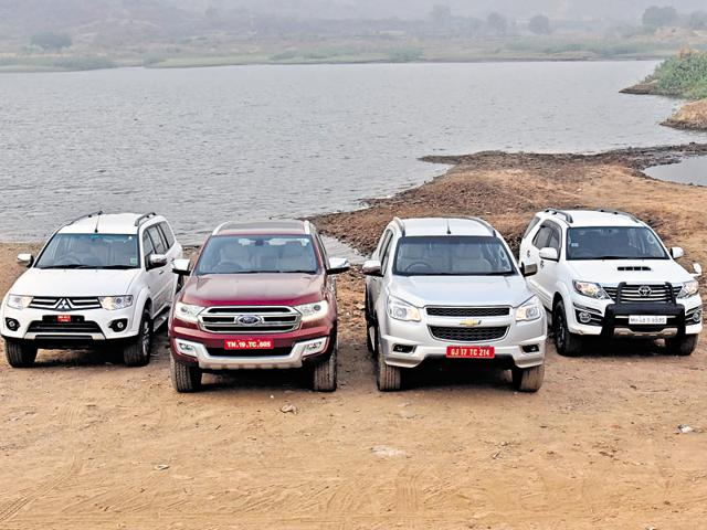 The four sub-Rs-30-lakh SUVs - Mitsubishi Pajero Sport, Ford Endeavour, Chevrolet Trailblazer and the Toyota Fortuner compared head to head.