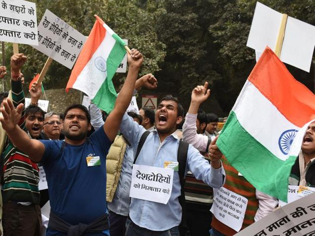 JNU students march in support of JNUSU president Kanhaiya Kumar who is in judicial custody.  The controversy over alleged seditious slogans chanted at a JNU event has become the latest flashpoint between  the ruling party and the opposition.