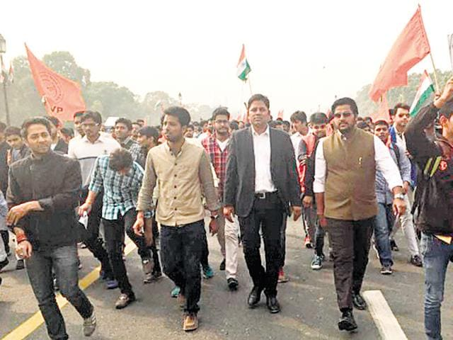Lawyer Vikram Chauhan at a protest in the Capital. He posted this picture on his Facebook page.