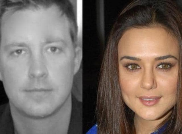 Preity Zinta and her groom-to-be, Gene Goodenough  (r).
