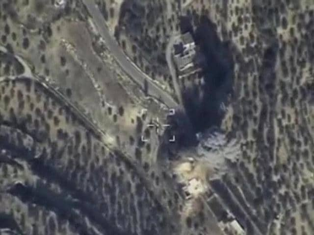 Still image taken from aerial footage released by Russia's Defence Ministry on February 11, 2016, shows airstrikes, carried out by the country's air force and hitting what the Defence Ministry says was Islamic State command post, in Idlib, Syria.