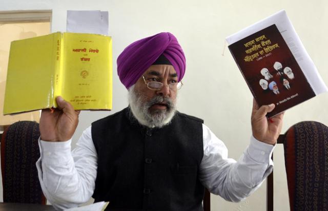 Congress leader Sukhjinder Raj Singh Lalli Majithia at a press conference in Amritsar on Saturday.