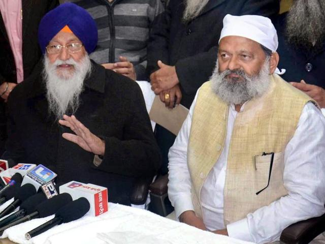 Haryana Health Minister Anil Vij addressing the media after a meeting in Amritsar.
