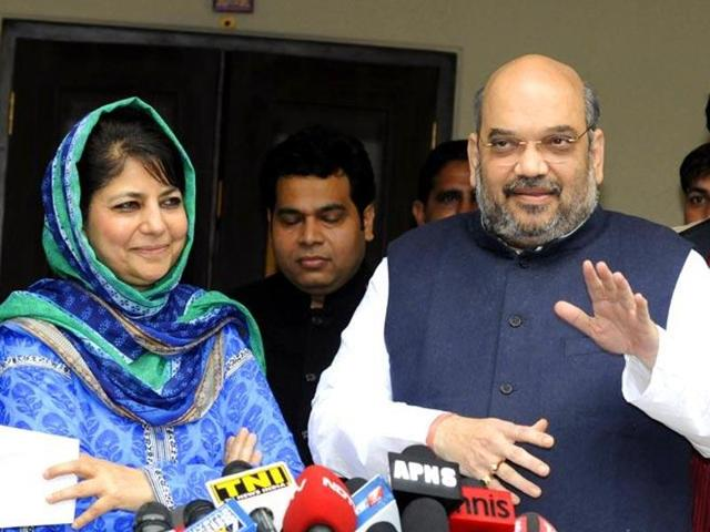 File photo of BJP president Amit Shah addressing the media after a meeting with PDP leader Mehbooba Mufti in New Delhi. (Sonu Mehta/HT Photo)