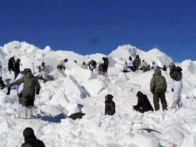 Specialised rescue teams carrying out the operations to search for the bodies of the soldiers hit by an avalanche in Siachen. A study has revealed blood clots to be the killer in the extreme conditions of Siachen.