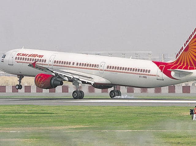 An Air India plane lands on the newly constructed runway '11-29' at Indira Gandhi International (IGI) Airport.