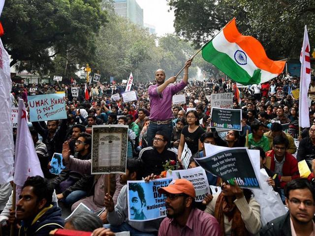 Activists and students from various organisations take out a rally from Mandi House to Jantar Mantar in solidarity with the JNUSU president Kanhaiya Kumar.