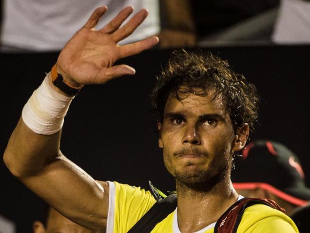 Pablo Cuevas of Uruguay returns during his men's singles semi-final match against Rafael Nadal.