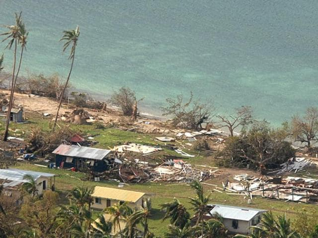 A remote Fijian village is photographed from the air during a surveillance flight conducted by the New Zealand Defence Force, after Cyclone Winston tore through the Pacific island nation.