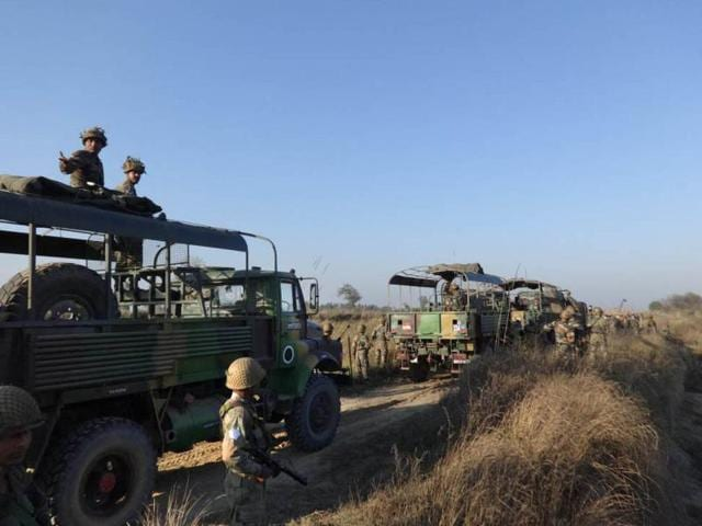 Army jawans head towards the Munak Canal in Karnal  district of Haryana on Sunday