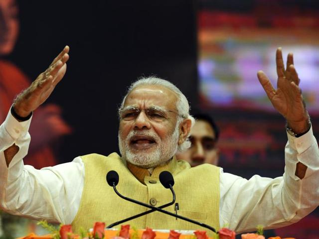 Prime Minister Narendra Modi at the centenary celebrations of the Gaudiya Math and Mission in the city on Sunday evening.