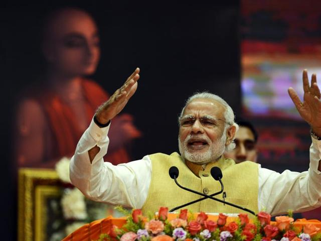 Prime Minister Narendra Modi speaks in Kolkata. Modi has been criticised for claiming there was a conspiracy to destabilise his government.