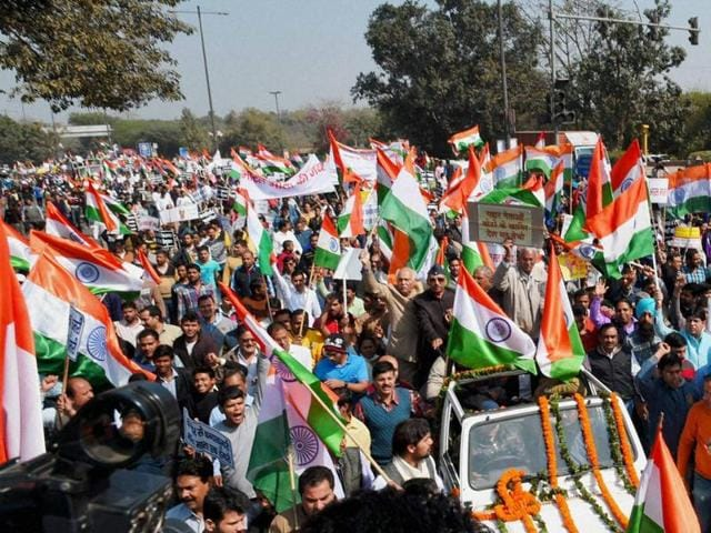 Hundreds march from Rajghat to Jantar Mantar against alleged anti-national activities at Delhi's JNU on Sunday.