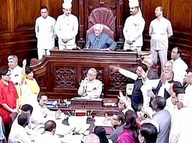 Members of the Rajya Sabha in uproar over the Goods and Services Tax Bill, during the 2015 winter session. In a bid to avoid a repeat performance, vice-president Hamid Ansari has called for an all-party meet to ensure peace in Parliament prior to the Budget session.