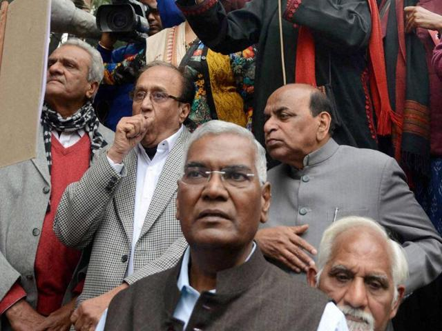 CPI(M) general secretary Sitaram Yechury with CPI leaders S Sudhakar Reddy and D Raja (Left) during a meeting of the Left parties in New Delhi. A BJP leader stoked controversy by saying D Raja should ask communists to kill his daughter for participating in JNU protests.