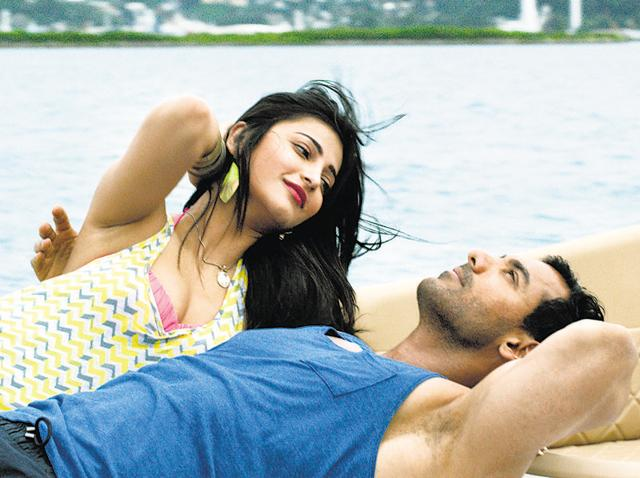 Shruti Haasan and John Abraham in a still from their song.