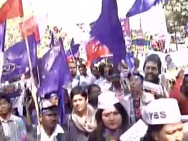 Student groups hold march demanding justice for Rohith Vemula.