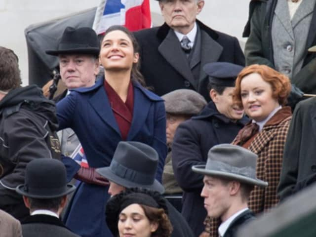 Gal Gadot and Lucy Davis in London, filming Wonder Woman.
