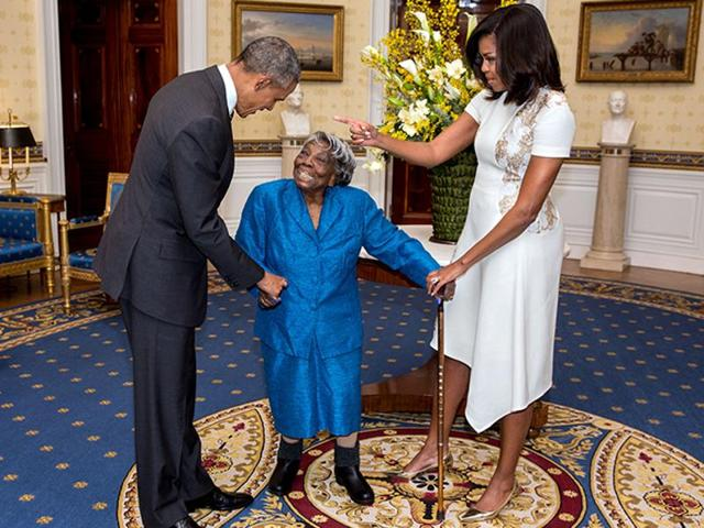 At 106 years old, she's seen more than a dozen presidents come and go, but Virginia McLaurin says she can finally die happy after meeting President Barack Obama.