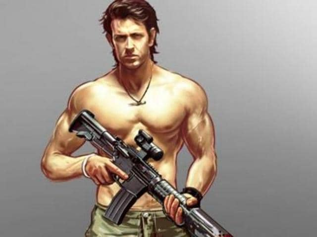 Hrithik flaunts his toned body in the game. (Twitter)