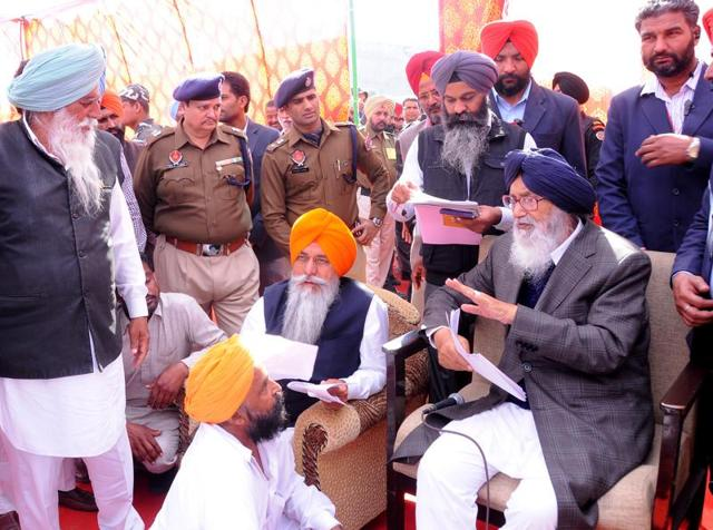 Chief minister Parkash Singh Badal during a sangat darshan programme at a village in Lambi assembly constituency of Muktsar district on Monday.