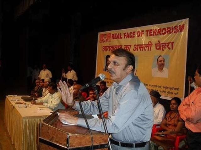 SM Mushrif speaking at the launch of his book.(PTI Photo)