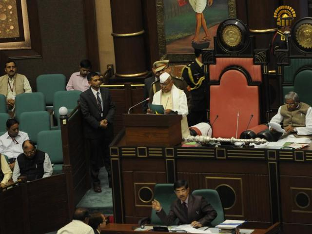 Governor Ram Naresh Yadav addressing the House on the first day of assembly's budget session in Bhopal on Tuesday.