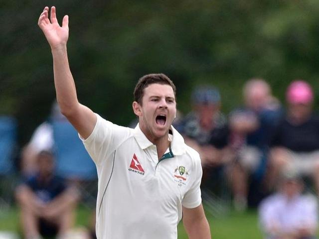 Josh Hazlewood of Australia appeals for an LBW call on Kane Williamson of New Zealand during day four of the second Test match at the Hagley Park Oval in Christchurch on February 23, 2016.