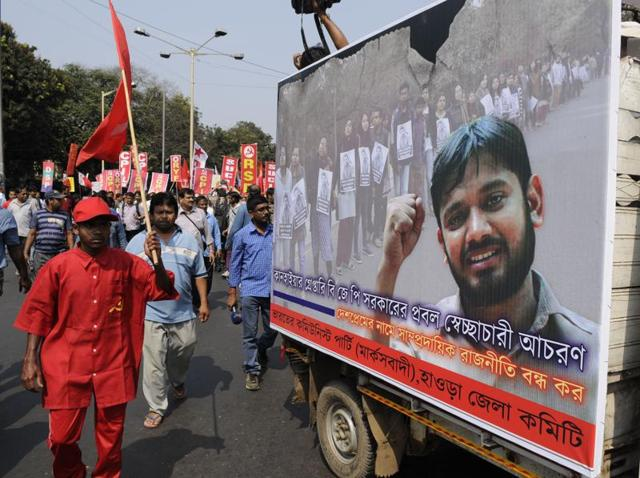 Left parties organised a protest rally against controversial arrest of JNU student leader Kanhaiya Kumar in Kolkata.