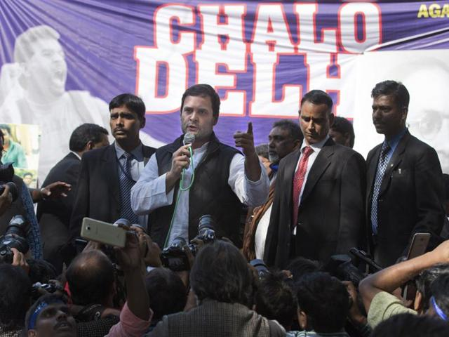 Congress vice president Rahul Gandhi addresses students during a protest in New Delhi.