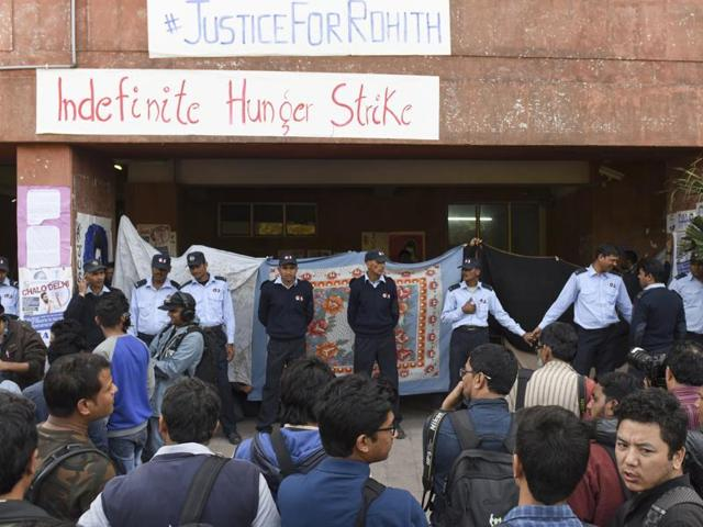 JNUSU supporters protest in front of a gathering in front of Admin Building in New Delhi , India, on Monday, February 22, 2016.