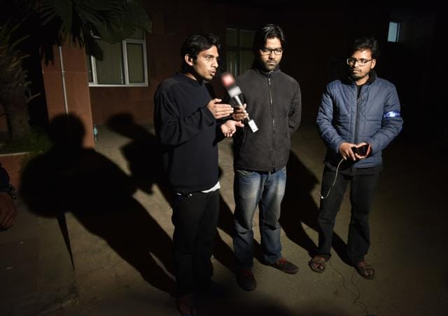 Left to Right- Rama Naga, Ashutosh and Anant the JNU students who conducted a cultural event to commemorate Parliament attack convict Afzal Guru's hanging, and was believed to have absconded.at JNU Campus, in New Delhi, India, on Tuesday , February 23, 2016.