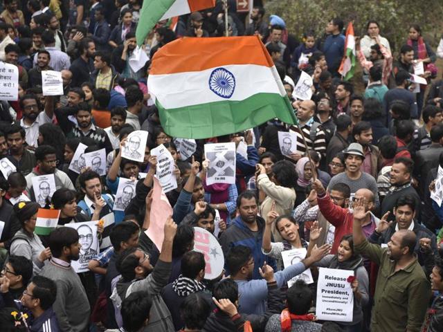 JNU march in support of JNUSU president Kanhaiya Kumar.
