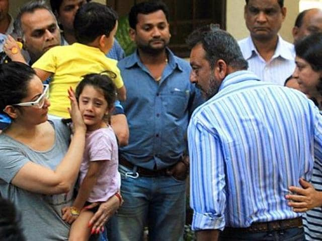 Sanjay Dutt says goodbye to his family as he leaves for jail.