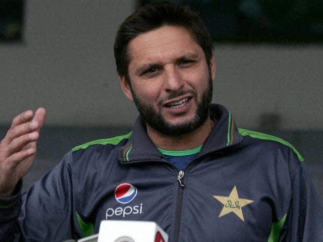 Shahid Afridi, the Pakistan Twenty20 team captain speaks to reporters in Lahore.