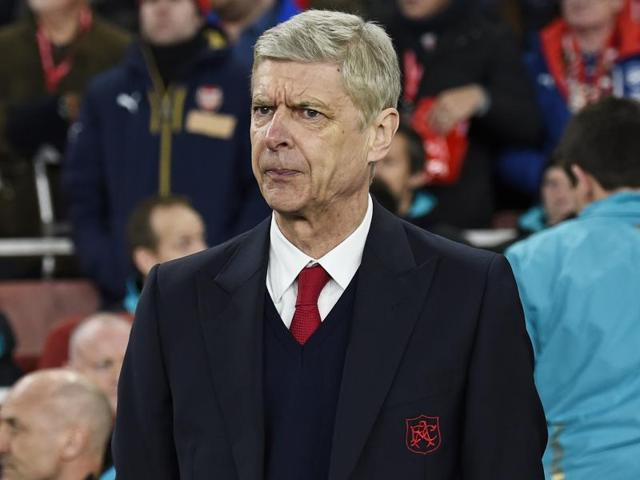 Arsenal manager Arsene Wenger reacts during the Champions League match against Barcelona.