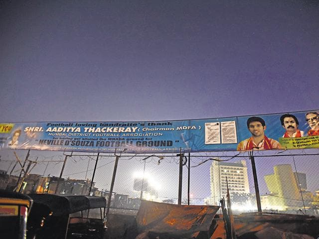 Banners congratulating Aaditya Thackeray at Bandra. Civic officials said they would examine whether the banners were illegal.