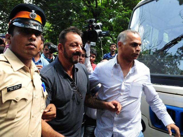 Sanjay Dutt coming out of Khar Police station in Mumbai on August 27, 2015.