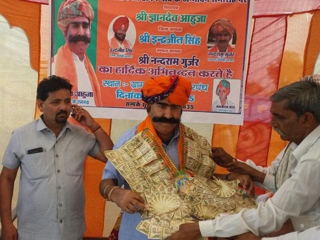 Gyan Dev Ahuja, BJP MLA from Ramgarh in Rajasthan, at a function in a village of his constituency in September 2015.