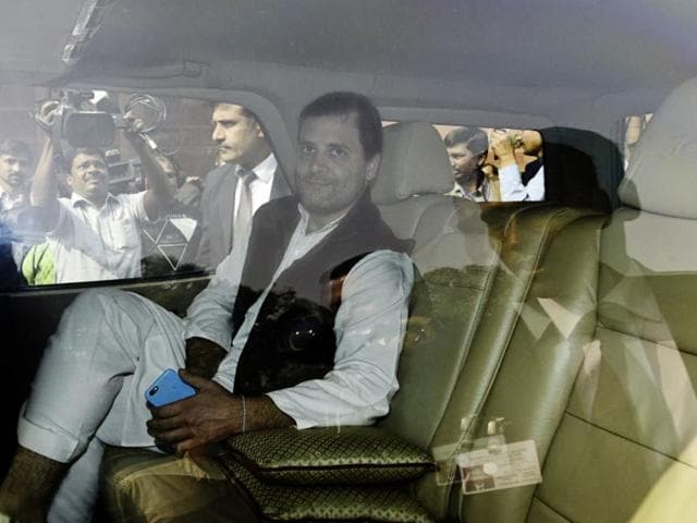 Congress vice-president Rahul Gandhi at the Parliament House in New Delhi on Wednesday.