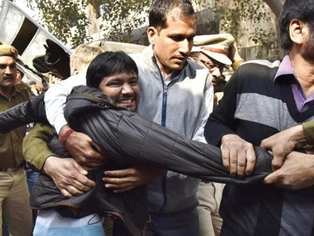 JNU Union President Kanhaiya Kumar being taken to Patiala House Court in New Delhi, India, on Wednesday, February 17.