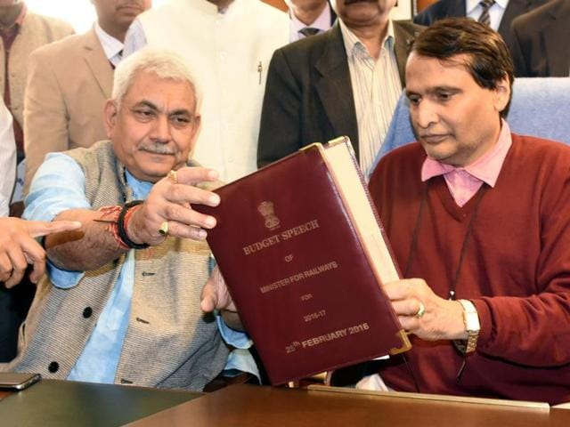 Railway Minister Suresh Prabhu with his MOS Manoj Sinha before presenting the 2014 Budget.