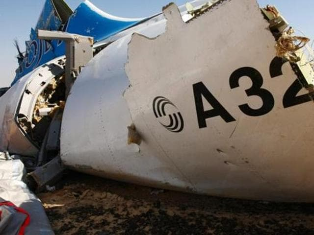 A handout picture shows the wreckage of an A321 Russian airliner in Wadi al-Zolomat, a mountainous area of Egypt's Sinai Peninsula.