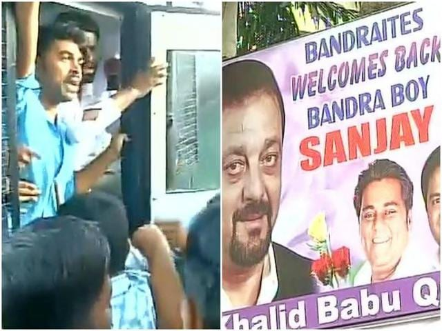 Left: Protesters were detained from outside Yerawada Jail. Right: Posters welcoming back Sanjay Dutt have been put up outside his house.
