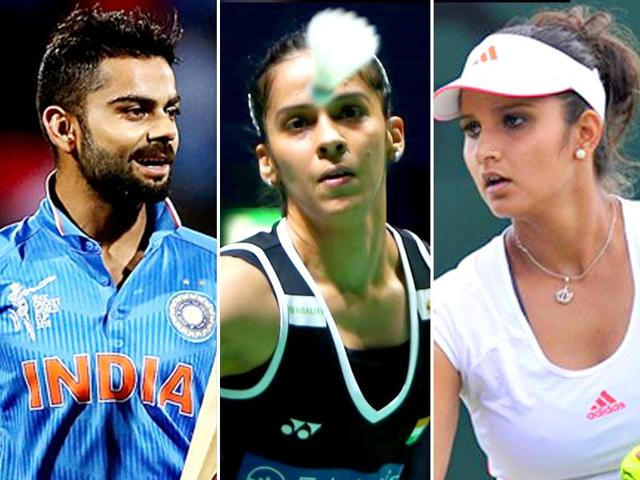 "Sania Mirza, Virat Kohli andSaina Nehwal were the top names in the pack of over 50 Indians in Forbes'  ""promising young leaders and game changers""."